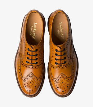 LOAKE Edward Brogue Shoe - Tan - Top/Front View