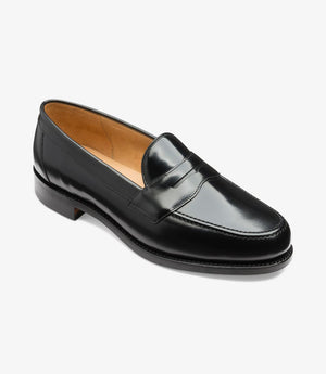 LOAKE Eton Black Classic Loafer - Angle View