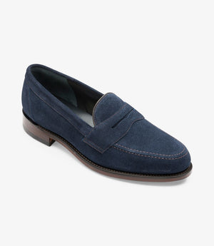 LOAKE Eton suede Classic Loafer - Navy Blue - Angle View