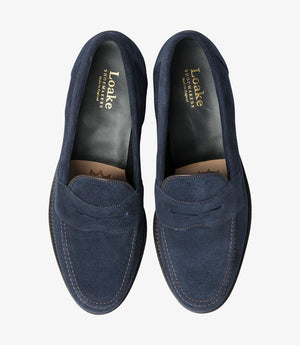 LOAKE Eton suede Classic Loafer - Navy Blue - Top View/ Front View
