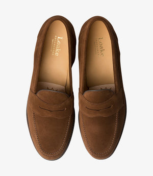LOAKE Eton suede Classic Loafer - Brown - Front/ Inside View