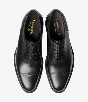 LOAKE - FLEET Premium calf semi brogue Oxford shoe - Black -Top View