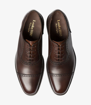 LOAKE - FLEET Premium Calf Semi Brogue Oxford Shoe - Dark Brown - Top View