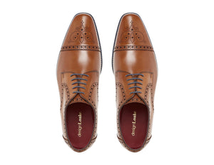 LOAKE Foley Stylish Brogue Derby Shoes - Tan - Top View