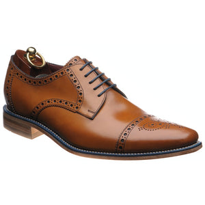 LOAKE Foley Stylish Brogue Derby Shoes - Tan - Angle View