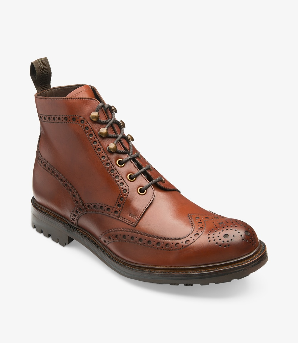 LOAKE - Glendale Premium Brogue Burnish Calf Leather Boot - Conker Brown - Ninostyle