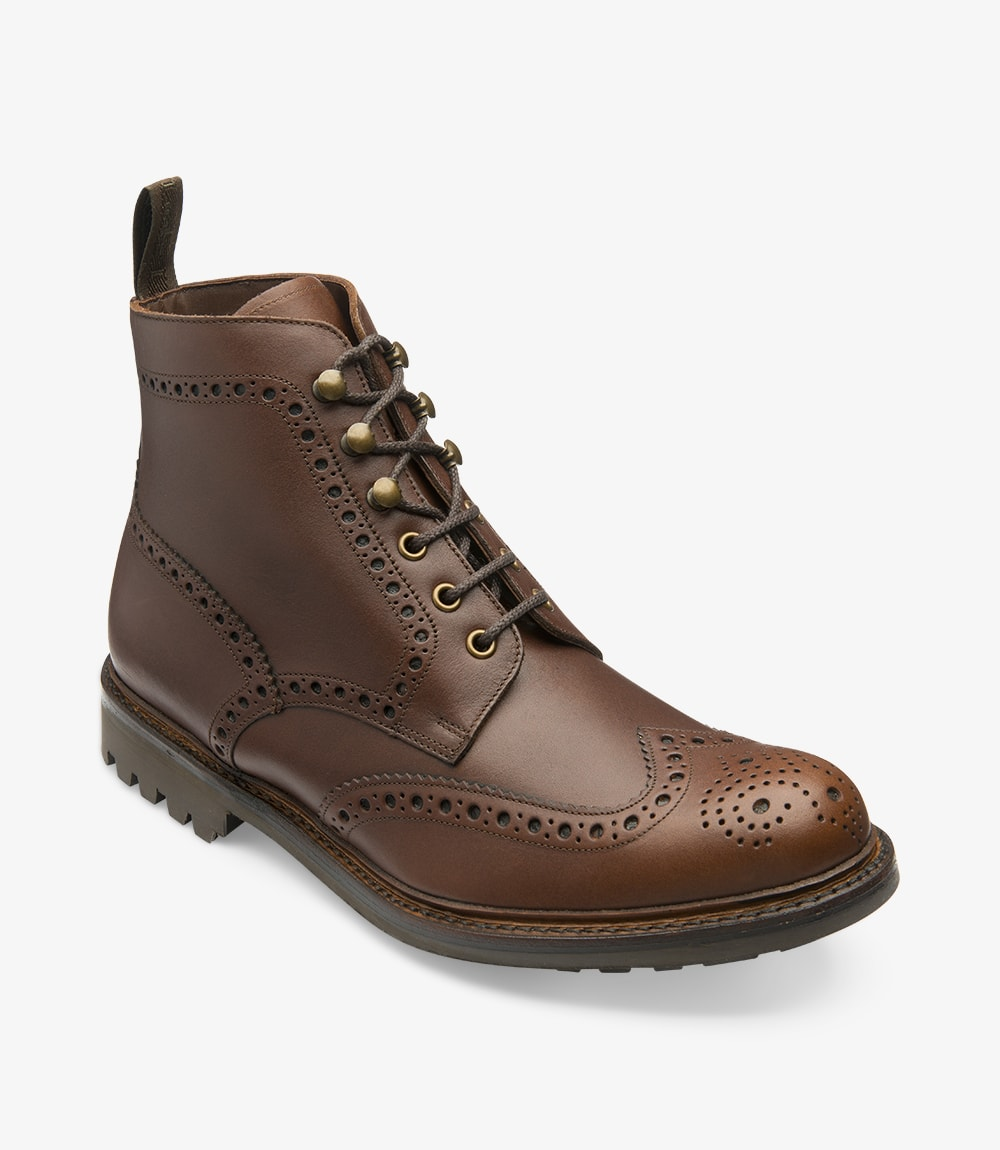 LOAKE - Glendale Premium Brogue Waxy Leather Boot - Brown - Angle View