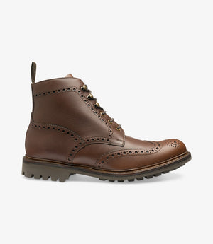 LOAKE - Glendale Premium Brogue Waxy Leather Boot - Brown - Side View