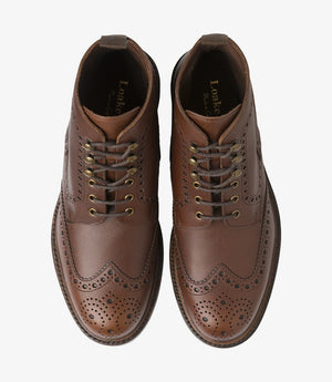 LOAKE - Glendale Premium Brogue Waxy Leather Boot - Brown - Top View