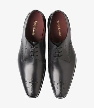 LOAKE Hannibal Derby Brogue shoe - Black Calf - Front View