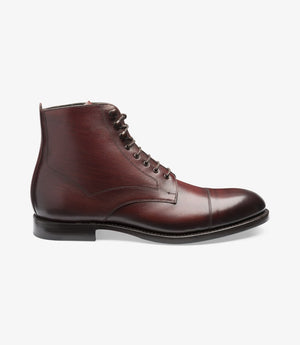LOAKE Hirst Derby Boot - Brush Painted Burgundy Calf
