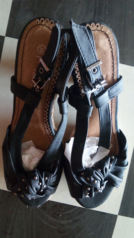 PRIMADONNA Leather Wedge Sandals - Black