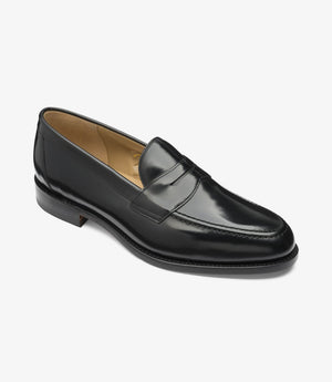 LOAKE Imperial Loafer - Black Polished Calf -Angle View