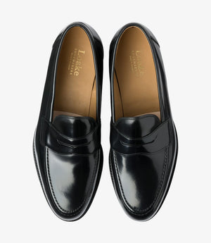 LOAKE Imperial Loafer - Black Polished Calf - Top View