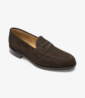 LOAKE Imperial Classic Penny Loafer - Dark Brown Suede - Angle View