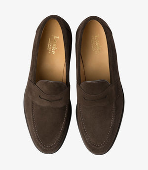 LOAKE Imperial Classic Penny Loafer - Dark Brown Suede - Top View