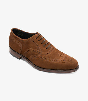 LOAKE INVERNESS  Full Brogue shoe - Brown Suede - Angle View