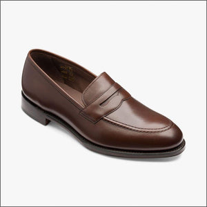 LOAKE - Whitehall Penny Loafers Shoe - Dark Brown - Angle View