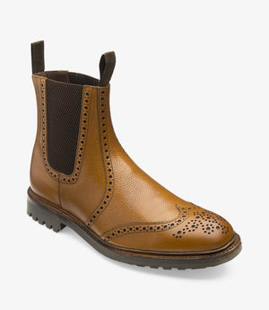 LOAKE - Keswick Premium Semi Brogue Calf Grain Boot - Deep Tan - Ninostyle