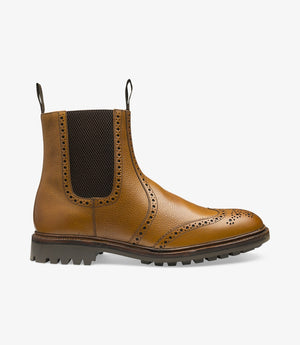 LOAKE - Keswick Premium Semi Brogue Calf Grain Boot - Deep Tan - Side View