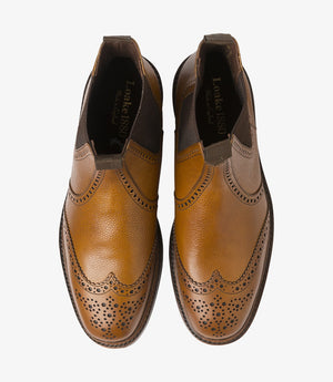 LOAKE - Keswick Premium Semi Brogue Calf Grain Boot - Deep Tan -Top View