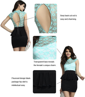 Celestial mint green Floral Lace Black Peplum Dress - Ninostyle