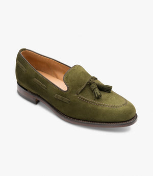 LOAKE Lincoln suede Classic Tassel - Olive - Angle View