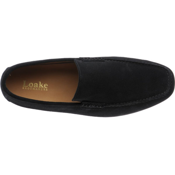 LOAKE Skipton Black Suede Loafers