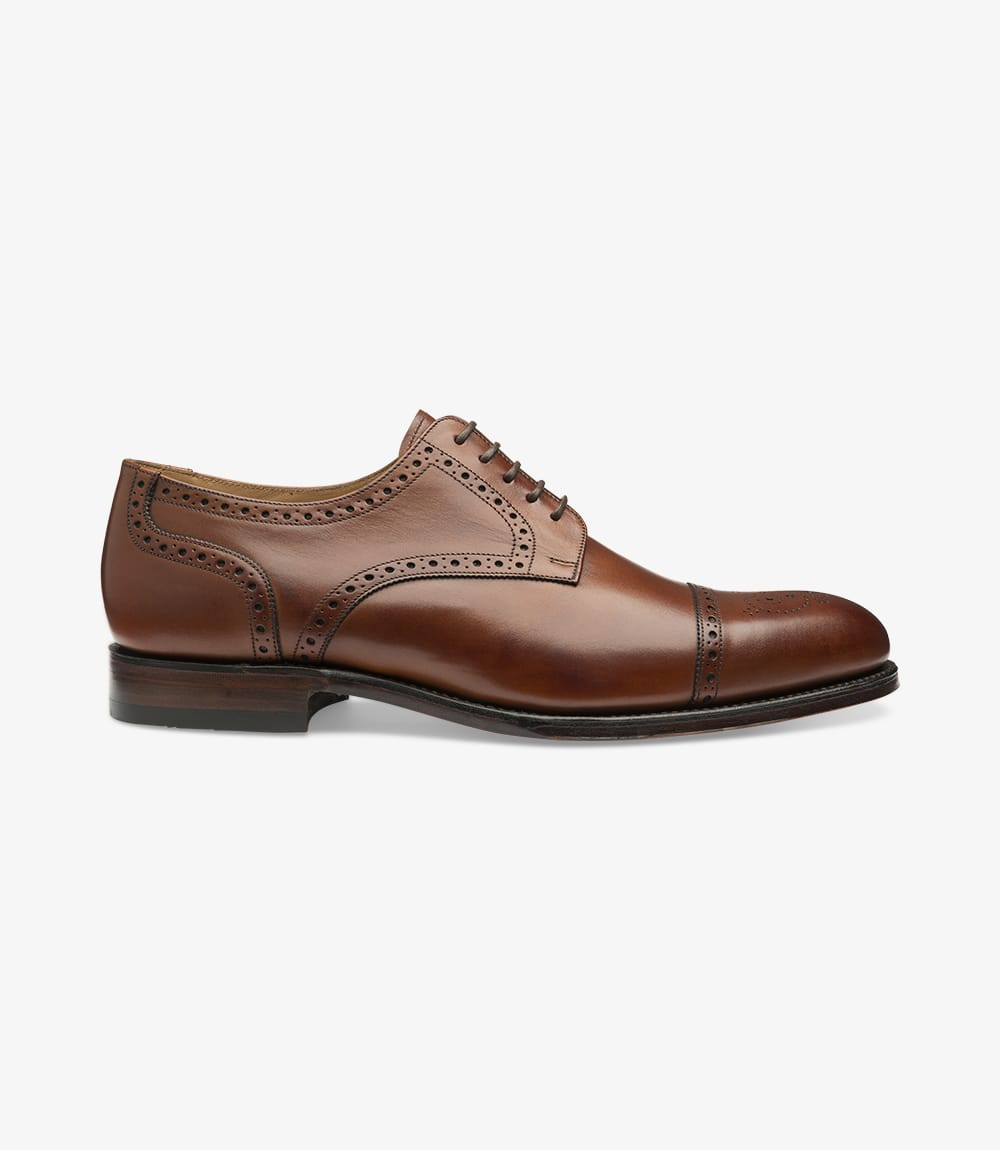 LOAKE Nuffield Burnished Calf Leather Shoe - Mahogany - Angle View