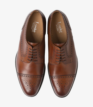 LOAKE Nuffield Burnished Calf Leather Shoe - Mahogany - Top View