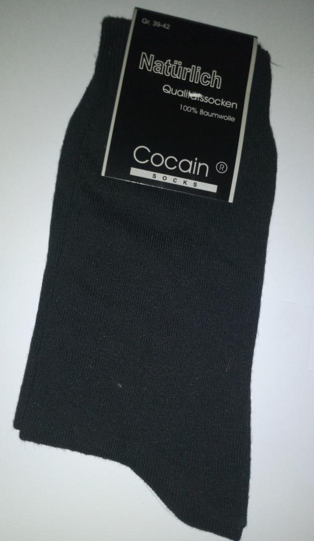 Naturlich-Cocain (Single) Cotton Socks- Black