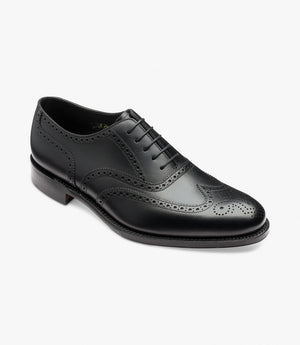 LOAKE Pembroke Brogue Oxford Shoe - BLACK CALF - Angle View