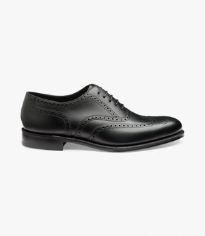 LOAKE Pembroke Brogue Oxford Shoe - BLACK CALF - Side View