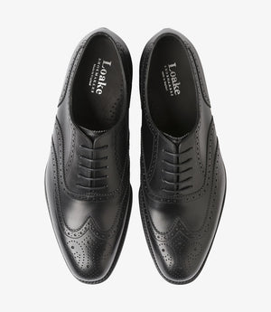 LOAKE Pembroke Brogue Oxford Shoe - BLACK CALF - Front View