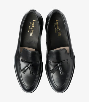 LOAKE - Russell Tasselled Loafers Calf Shoe - Black - Top View
