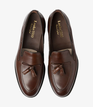LOAKE - Russell Tasselled Loafers Calf Shoe - Dark Brown - Top View