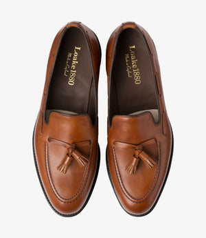 LOAKE - Russell Tasselled Loafers Calf Shoe - Mahogany - Top View