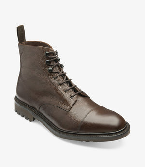 LOAKE - Sedbergh Premium Calf Grain Boot - Dark Brown - Angle View