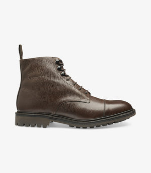LOAKE - Sedbergh Premium Calf Grain Boot - Dark Brown - Side View