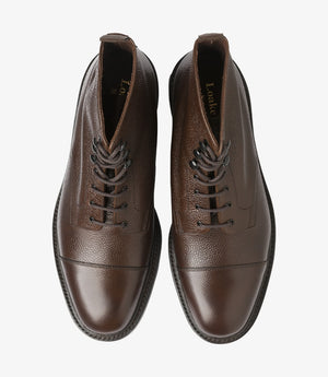 LOAKE - Sedbergh Premium Calf Grain Boot - Dark Brown - Top View