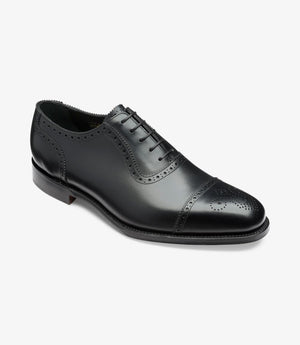 LOAKE Strand- Premium Semi Brogue shoes - BLACK - Angle View