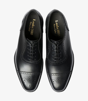 LOAKE Strand- Premium Semi Brogue shoes - BLACK - Top View