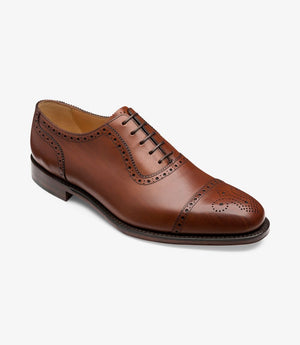 LOAKE Strand- Premium Semi Brogue shoes - MAHOGANY - Angle View