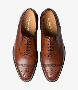 LOAKE Strand- Premium Semi Brogue shoes - MAHOGANY - Top View