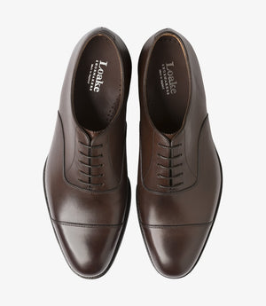 LOAKE Wadham Toe Cap Oxford Shoe - Dark Brown - Top View