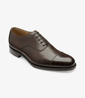 LOAKE Wadham Toe Cap Oxford Shoe - Dark Brown - Angle View