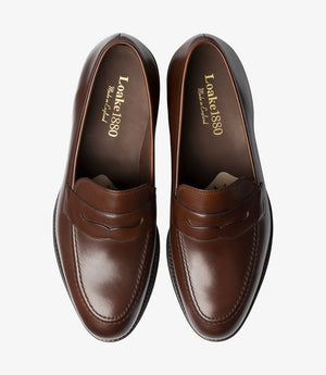 LOAKE - Whitehall Penny Loafers Shoe - Dark Brown - Top View