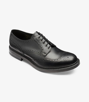 LOAKE Worton Brogue Calf Shoe - Black - Ninostyle