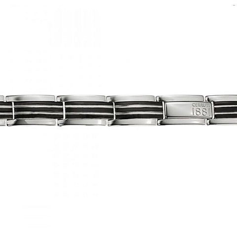 Accessories - Cerruti Stainless Steel & Black Bracelet