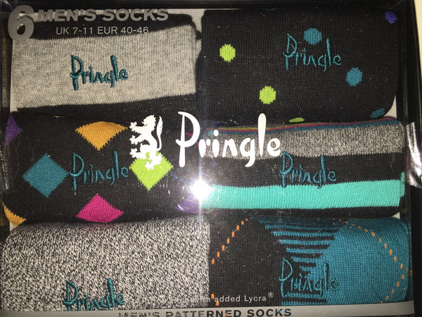 Accessories - Pringle 6-pack Multi-Coloured Men's Patterned Socks - Blue